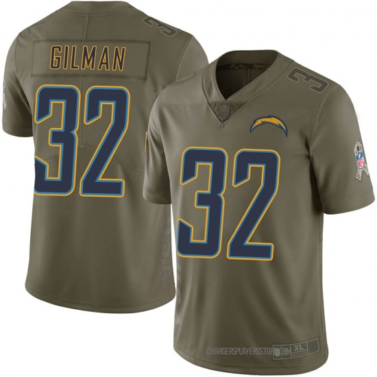 Alohi Gilman Los Angeles Chargers No.32 Limited 2017 Salute to Service Jersey - Green
