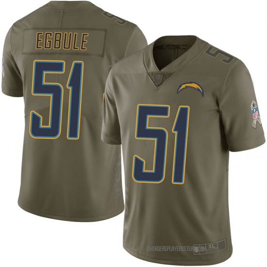 Emeke Egbule Los Angeles Chargers No.51 Limited 2017 Salute to Service Jersey - Green