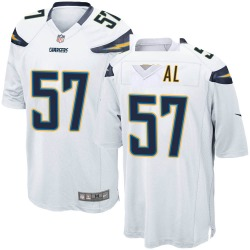 Men's Asmar Bilal Los Angeles Chargers No.57 Game Jersey - White