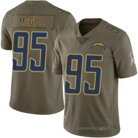 T.Y. McGill Los Angeles Chargers No.95 Limited 2017 Salute to Service Jersey - Green
